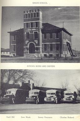 Top Photo:  Grade School; Bottom Photo:  School Buses and Drivers L to R:  Cecil Hill, Sam Block, Jimmy Ferguson, Charles Rickerd