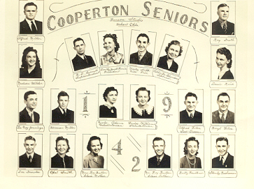 Class of 1942 - Top Row L to R: Alfred Miller, Roy Groth, 2nd Row:  Nadean Wilder, R. D. Burnett, Supt, Dorothy Jewell Farris, Wesley Kopp, Addie Lee Chambers, Sponsor, Dessie Reid, 3rd Row:  LaVoy Jennings, Herman Miller, Viola Adams, Louise Williams, Alfred Liles, Beryl Liles, Bottom Row:  Don Gravlee, Opal Smith, Mrs. Roy Bullen, Roy Bullen, Betty Faulkner, Stanley Buchanan.
