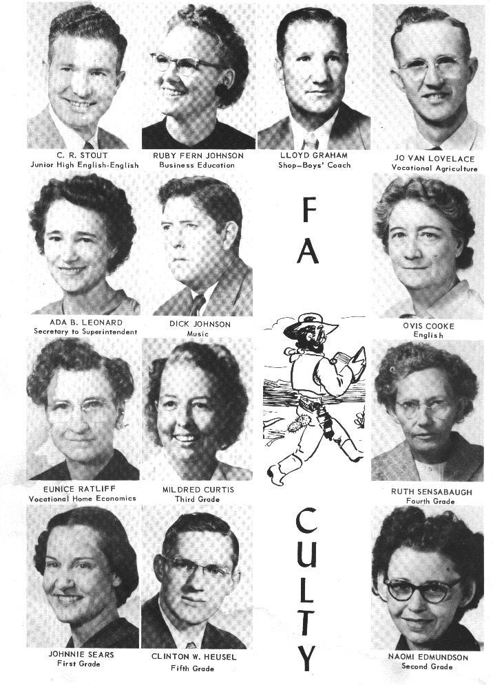 Faculty:  C. R. Stout; Ruby Fern Johnson; Lloyd Graham; Joe Van Lovelace; Ada B. Leonard; Dick Johnson; Ovis Cooke; Eunice Ratliff; Mildred Curtis; Ruth Sensabaugh; Johnnie Sears; Clinton W. Heusel; Naomi Edmundson
