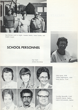 Personnel:  Top:  Bus Drivers L to R:  Brenda Hester, Irene Franks, and Dutch Cooper; Right:  Joy Clark, School Secretary; Lower Top Row:  Judy Ayers, Aide; Trisha Nightingale, Aide; Betty Moore, Cook; Bottom Row:  Dorothy Neuwirth, Cook; Rumaldo Juarez, Janitor; Leslie McCormack, Janitor.