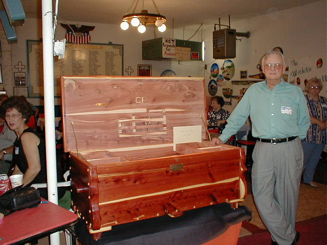 Pee Wee Jennings with his prized cedar chest.